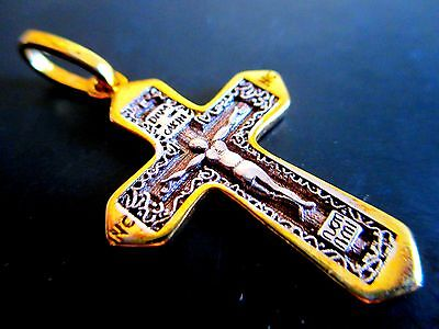 Gilded Sterling Silver Bilateral Russian Orthodox Pendant, Cross From Jerusalem