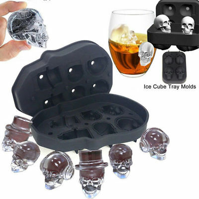 6Head Skull Shape 3D Ice Cube Mold Maker Party Bar Whisky Trays Chocolate Mould