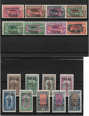 French Chad 1924-33,17 stamps,Scott # 19//50,VF Mint Hinged* (K-8)