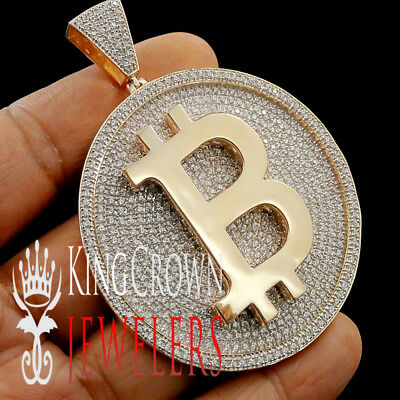 Big XL 3'' Mens Real Rose Gold Over Silver Custom Medallion Bitcoin QR Pendant