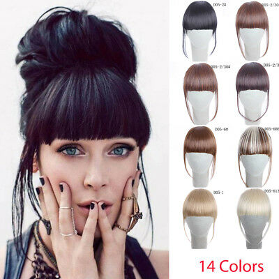 2019 Clip In on Bangs Fringe Fake Hair Extensions Straight Front Neat Hair Bang
