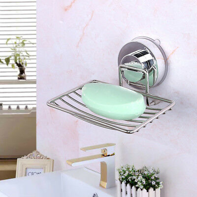 Stainless Steel Soap Dish Tray Wall-mount Strong Vacuum Suction Cup Holder Rack