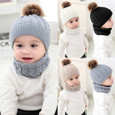 KD_ Winter Warm Baby Boy Girl Pompom Solid Color Knitted Beanie Cap Scarf Set