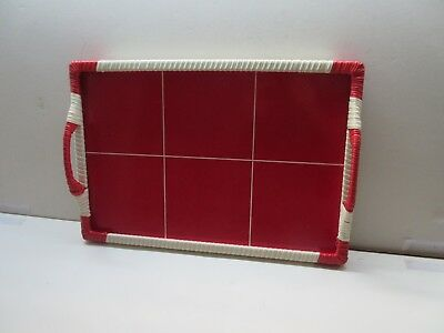 Vintage retro red and cream / white kitchen serving tray
