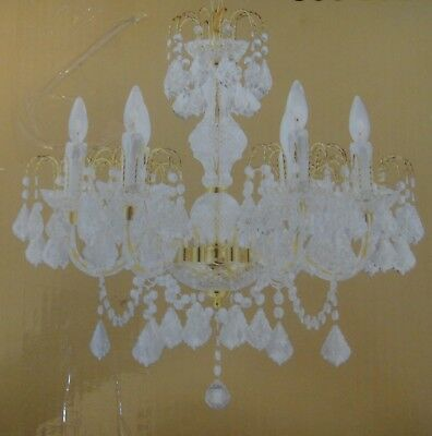 Hampton Bay Elegant  6-Light Polished Brass and Crystal Chandelier New In Box
