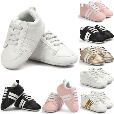 Infant Toddler Baby Boy Girls Soft Bottom Anti-skid Sports Pram Shoe Trainers CW