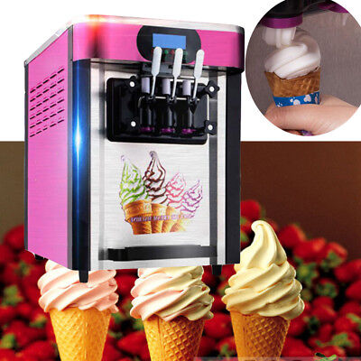 3 Flavors Soft Ice Cream Making Machine Cool Maker Stainless Steel EU/US Plug