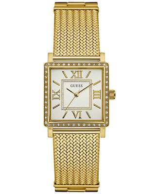 GUESS 28mm Women's Highline Gold-Tone Stainless Mesh Bracelet Watch U0826L2 NEW!