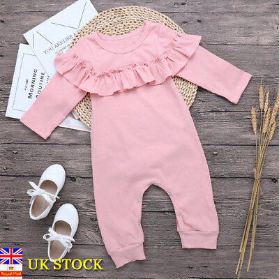 UK Newborn Baby Girls Pink Romper Jumpsuit Bodysuit Clothes Outfit Set Toddler