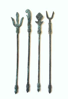 Antique Chinese-Tibetan Lot of 4 Buddhist Cult Tools - Ancient Weapons Shaped