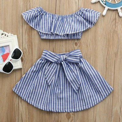 2Pcs Toddler Kid Baby Girl Off Shoulder Top Mini Skirt Dress Outfits Clothes CW