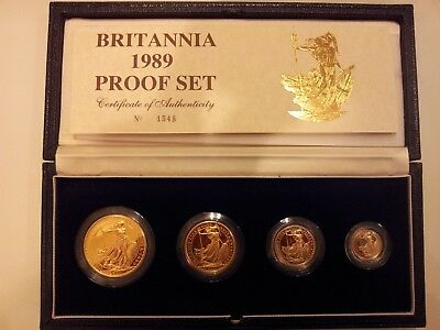 1989 4-Coin Gold Britannia Proof Set (w/Box & COA) - Total 1.85 oz of Pure Gold