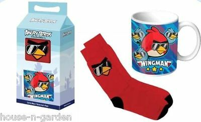 ANGRY BIRDS Socks & Collectable Dinking Coffee Cup Mug Gift Boxed