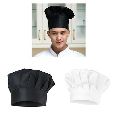 Clasic Chef Hat Elastic Design One Size Fits Most Cooking Cap White Black
