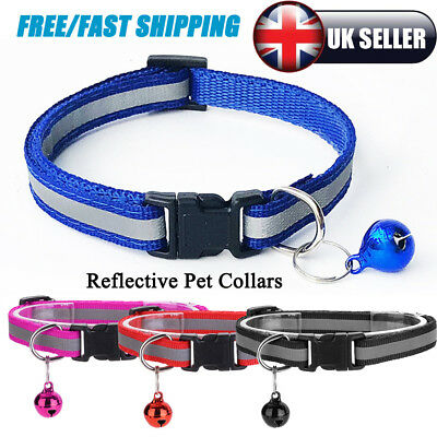 Gloss Reflective Dog Collars Small Pet Puppy Dog Cat Kitten Collar with Bell UK