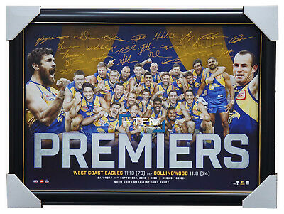 West Coast Eagles 2018 Premiers Signed Official AFL Print Frame Hurn Shuey Yeo