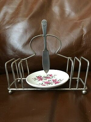 Vintage Wedgewood Toast Rack Silver Plated With Butter Dish And Knife