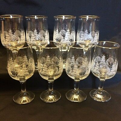 8 Vintage Arby's Libbey Wine White Winter Scene Water Glass Tulip Goblet 1980s