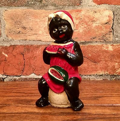 Cast Iron Black Americana Watermelon Girl on the Pot Vintage Penny Coin Bank