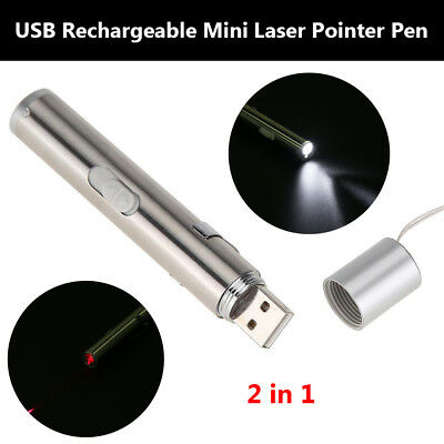 2 in 1 USB Rechargeable Mini Red Laser Pointer Pen with White LED Pet Light