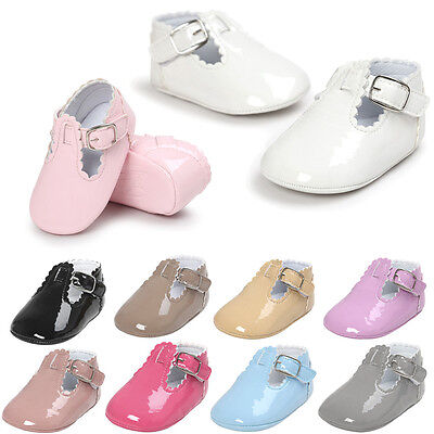 Toddler Newborn Baby Boy Girl Leather Crib Shoes Soft Sole Prewalker Trainers CW