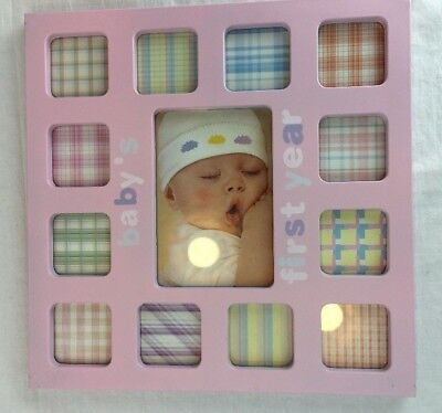 Baby First Year Picture Frame Pink 12 Months One Year Keepsake Shower Gift