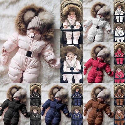 Toddler Baby Boy Girls Winter Romper Jacket Hooded Jumpsuit Thick Coat Outfits L