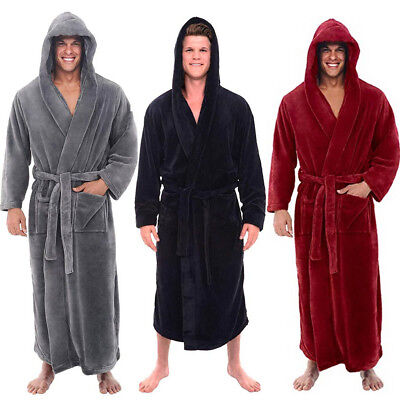 Men Winter Plush Lengthened Shawl Bathrobe Home Clothes Long Sleeved Robe Coat D