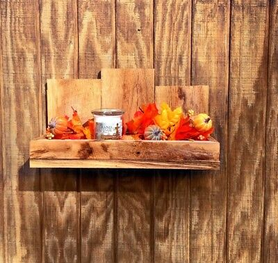 Farm House Style 80 year Old Fumed Oak Floating Wall Shelf