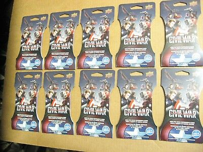 10 Super Packs Marvel Captain America Civil War Trading Cards Memorabilia 2016UD