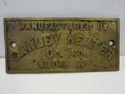 Vintage Carley Heater Co. Brass Name Plate/Emblem