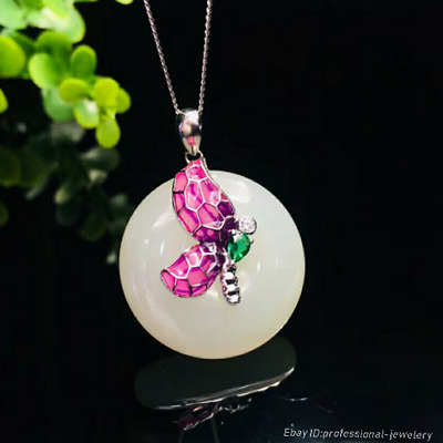 24mm collect China Natural HeTian jade Hand engraving Butterfly Pendant PCSH