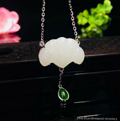 24mm collect China Natural HeTian jade Hand engraving Pendant Necklace PCSH