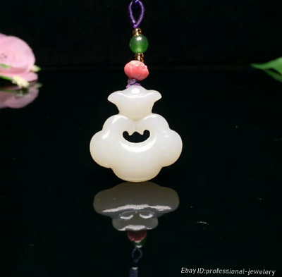 31mm collect China Natural HeTian jade Hand engraving Pendant Necklace PCSH