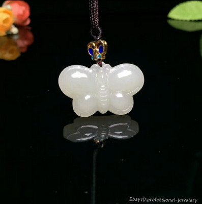 33mm collect China Natural HeTian jade Hand engraving Butterfly Pendant PCSH