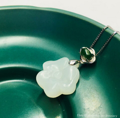 15mm collect China Natural HeTian jade Hand engraving Pendant Necklace PCSH