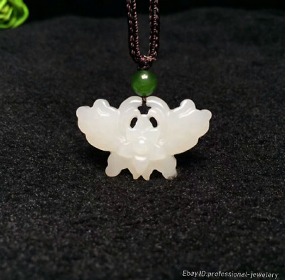 32mm collect China Natural HeTian jade Hand engraving Butterfly Pendant PCSH