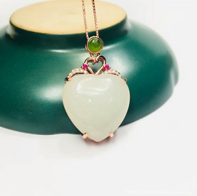 20mm collect China Natural HeTian jade Hand engraving Pendant Necklace PCSH