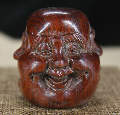 China Red wood Yellow pear wood handmade Four-sided  Buddha Necklace Sculpture