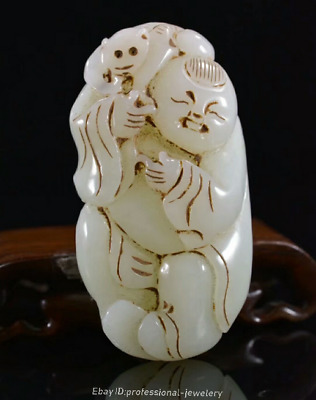 7.8cm collect China Natural HeTian White jade Hand-carved Monkey Pendant JJO