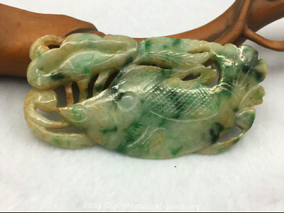 6.6cm China natural Emerald jade jadeite Hand-carved Fish Pendant Amulet JJO