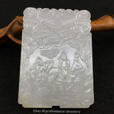 7cm China Natural HeTian White jade Hand-carved character Pendant Amulet JJO