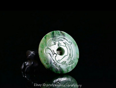5.5cm China natural Emerald jade jadeite Hand-carved Dragon Pendant Amulet JJO