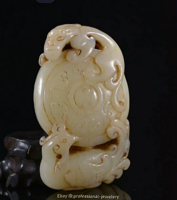 9.1cm collect China Natural HeTian White jade Hand-carved Dragon Pendant JJO