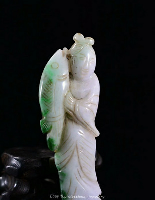 8.9cm China natural Emerald jade jadeite Hand-carved Fish Pendant Amulet JJO