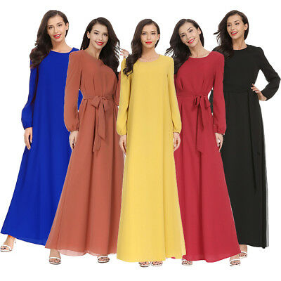 5 Colors Abaya Muslim Long Dress Women Casual Dubai Maxi Gown Middle East Robe