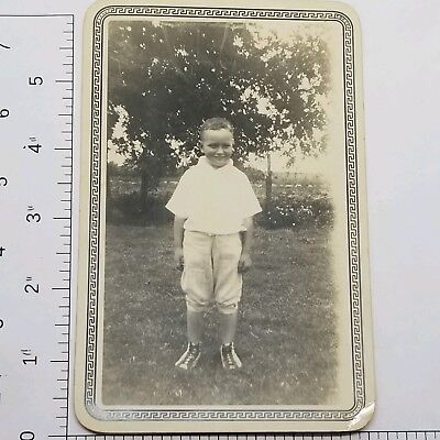 Vintage Photograph 1920s Young Boy on Farm in front of Vegetable Garden