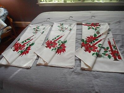 Vintage Christmas Cotton Tablecloth Candles, Pinecones, Poinsettias 3 Available
