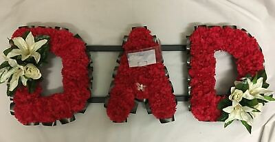 Artificial Silk Funeral Flower Dad Multi Colour Wreath Memorial 3 Letter Tribute