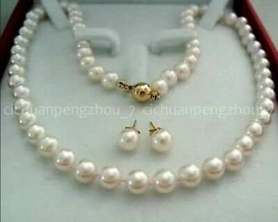 Natural 8-9mm White Akoya Cultured Pearl Necklace Earrings 14K Gold Clasp AAA+